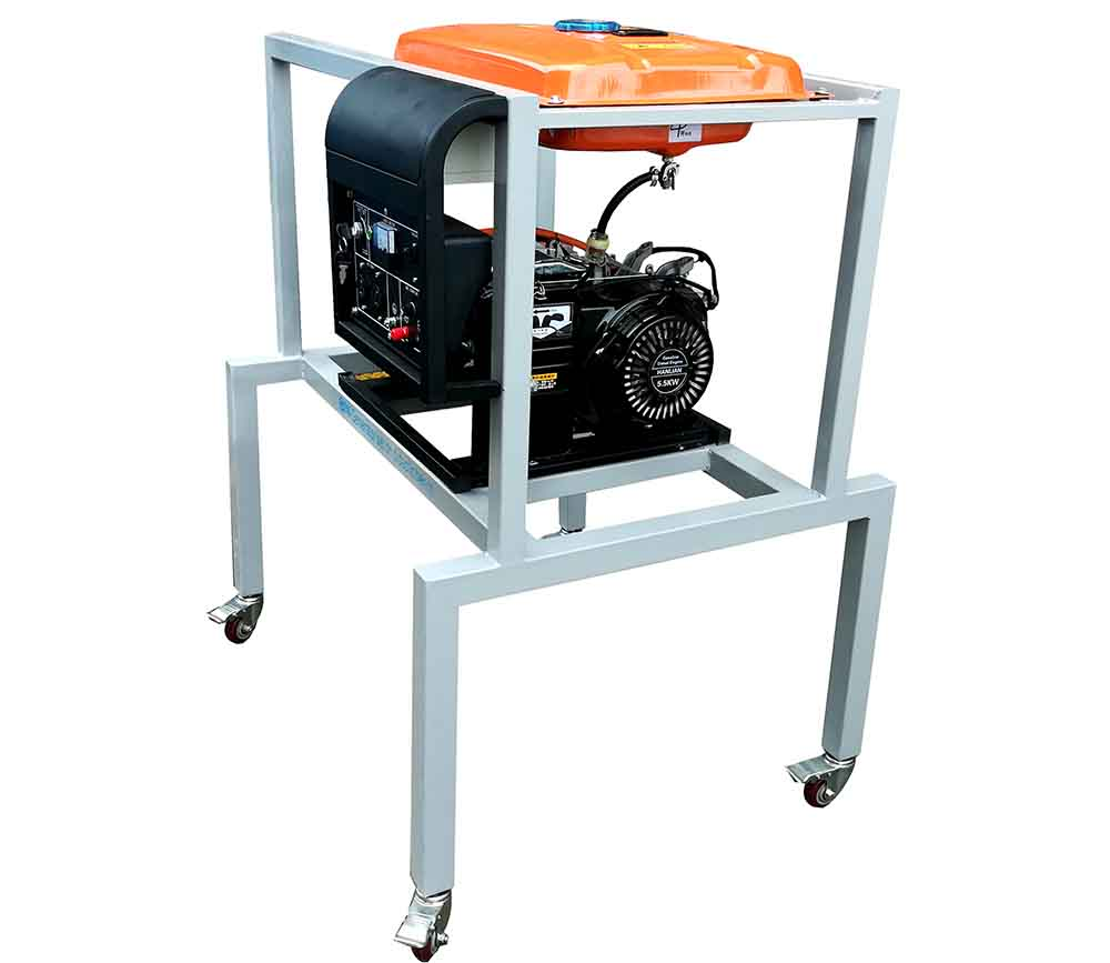 Generator set on didactic bench educational equipment